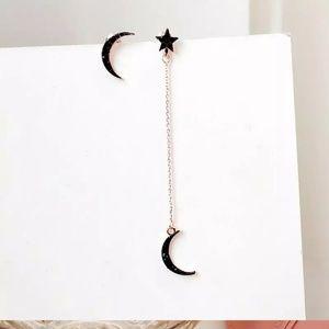 Jewelry - Moon Star Pendant Asymmetric Earrings